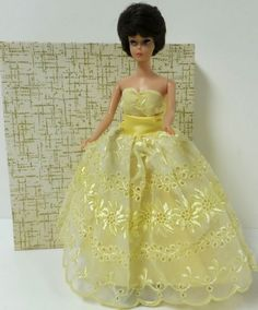 "HALINA'S DOLL FASHION CHICAGO ~ BARBIE ""FRATERNITY HOP-YELLOW"" w/ORIGINAL BOX #HalinasDollFashionsChicago"