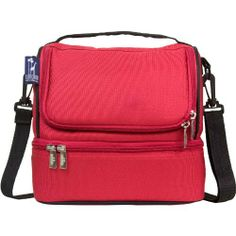 Wildkin Cardinal Double Decker Lunch Bag, Red by Wildkin. $27.99. Sturdy, durable, fabric construction. Available in lots of great patterns. Reflective tape for added safety. Additional side and back pockets for easy-access storage. Heavy-duty, adjustable shoulder strap. Features: Measures 8-inchH by 9-inch by 7-inch. Sturdy, durable, fabric construction. Food safe. PVC, BPA and Phthalate-free. Insulated and easy-to-clean. Two compartments: Lower compartment includes m...