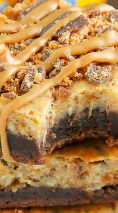 Butterfinger Cheesecake Brownies ~ Rich chocolate brownies topped with creamy butterfinger cheesecake... These bars are incredible.