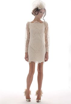 Brides.com: Short Summer Wedding Dresses from the Spring 2012 Runways. Trend: Lace. The trick to wearing lace in the summer? Look for delicate, lightweight options, like sheer lace overlays or lace appliqués.  Belle, $4,785, Elizabeth Fillmore