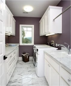 plum paint laundry room + white