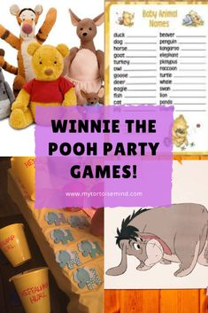 Hosting a Winnie the Pooh children's birthday party or baby shower? Here's 8 party games and activities to DIY. First Birthday Party Themes, Birthday Party Games, Birthday Ideas, Baby Animal Names, Winnie The Pooh Birthday, Diy Party, Party Ideas, Kids Party Games, First Birthdays