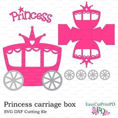 Festa di Principessa trasporto casella modello (Studio v. 3, DXF, SVG) bambino ragazza taglio digitale Cenerentola Silhouette Cameo Cricut