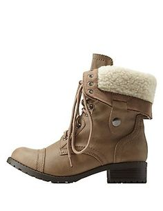 Shearling Lined Combat Boots #boots