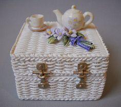 Picnic Basket Trinket Jewelry Box Holder White Resin Tea Pot Cup Flowers Painted #Dezine #TrinketBox #Treasure