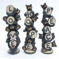 "Whimsical ""Love"" Black Bears Figurine Indoor Home Decor on eBay!"