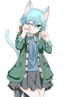 Check out our Sword Art Online products now! Anime Neko, Manga Anime, Sao Anime, Manga Art, Neko Kawaii, Lolis Neko, Schwertkunst Online, Online Anime, Anime Figures