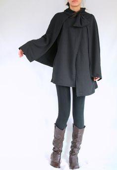 Cloak Coat  Women Coat  Women Black Coat  Layered by idea2wear, $57.00