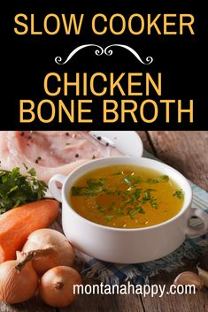 Slow Cooker Chicken Bone Broth Recipe - Easy recipe you make in your crockpot. Slow Cooker Chicken Bone Broth Recipe - Easy recipe you make in your crockpot. Slow Cooker Chicken Stock Recipe, Chicken Bone Broth Recipe, Homemade Chicken Stock, Slow Cooker Recipes, Soup Recipes, Crockpot Recipes, Chicken Recipes, Chicken Cooker, Bone Broth Fast Recipe