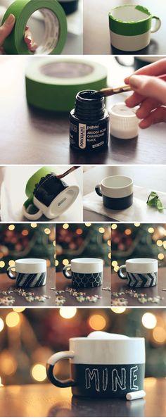 DIY: Chalkboard Mug    http://witandwhistle.com/2011/12/14/diy-chalkboard-mug/