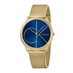 Unisex quartz ελβετικό ρολόι Calvin Klein K3M5155N Minimal με μπλε καντράν και κίτρινο ατσάλινο μπρασελέ σε στυλ ψάθας | Ρολόγια CK ΤΣΑΛΔΑΡΗΣ στο Χαλάνδρι #Calvin #Klein #Minimal #κιτρινο