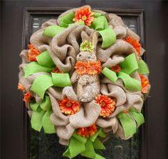 Easter Floral Door Wreath Spring Bunny Rabbit Burlap Daisy Decor Decoration Luxe