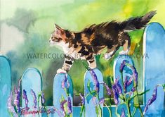 Brown Tabby Calico White Cat Instant Download Print of my