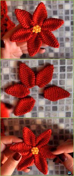 Crochet Amigu Poinsettia Flower Free Pattern Video - Crochet Poinsettia Christmas Flower Free Patterns