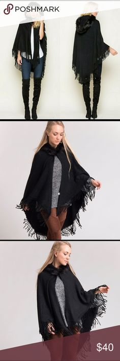 🔥 Must Have For Your Closet this Season.  This Cape will Complete various looks. Dress it Up or Dress it Down . Bring your look together with this New Hooded Cape. • New With Tags. Still in shipping Bag. • Color Black • Faux Fur Collar Knit Cape  • 100% Acrylic  • One Size Sweaters Shrugs & Ponchos