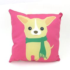 Chihuahua Decor Pillow Pink PLDE001 by maustudio on Etsy, $28.00