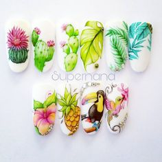 Fruit Nail Designs, Almond Nails Designs, Nail Art Designs, Summer Acrylic Nails, Summer Nails, Spring Nails, Feather Nail Art, Flower Nail Art, Food Nail Art
