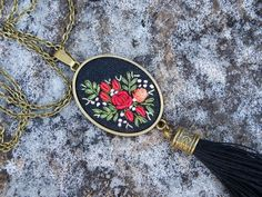 Tassel necklace embroidered pendant black by EmbroideredJewerly