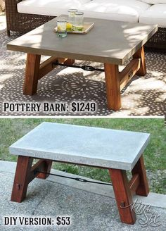 Pottery Barn Inspired Concrete Top Coffee Table via TheKimSixFix.com