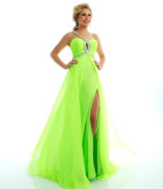 Mac Duggal Prom 2013 - Neon Lime Gown With Rhinestone Embellishments - Unique Vintage - Prom dresses, retro dresses, retro swimsuits.
