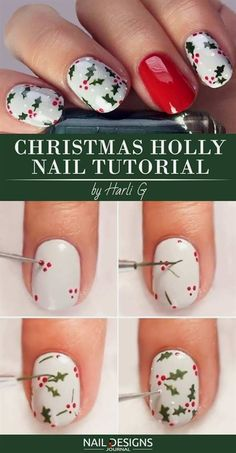 10 Charming Christmas Nail Art Tutorials You'll Adore - Christmas Nail Art Designs Christmas Nail Polish, Cute Christmas Nails, Xmas Nails, Diy Nails, Cute Nails, Manicure Ideas, Christmas Ideas, Christmas Christmas, Christmas Fashion