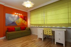 Green blinds in modern room. Modern colorful room with orange wall and green bli , Windows Upgrade, Blinds For Windows, Window Blinds, Orange Walls, Curtain Designs, Small Changes, Roller Blinds, Modern Room, Room Colors