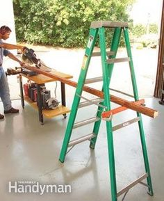 Tool Tips: Ladder support - Use a ladder as a pair of extra hands when cutting long stuff. http://www.familyhandyman.com/tools/tool-tips/view-all