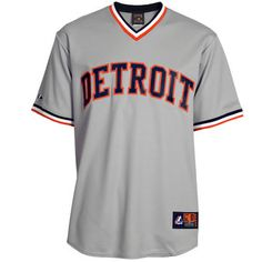 Mens Detroit Tigers Majestic Gray Cooperstown Cool Base Jersey