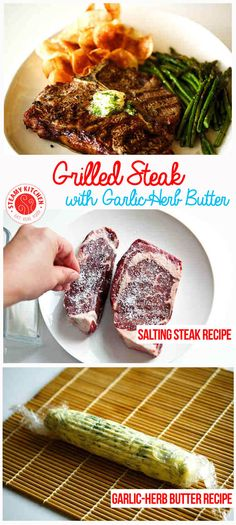 "Grilled Steak Recipe with Garlic-Herb Butter - Turning  ""Choice"" steak into Gucci ""Prime"" steak. | steamykitchen.com ~ http://steamykitchen.com"