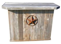 Large Hand-Made, Rustic Outdoor Wooden Bar (cooler inside).minus the ugly star!