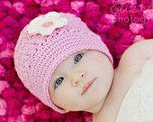Pink Baby Cloche Hat with Cream Flower & Vintage Button, Pink Baby Hat Pink Baby Beanie Pink Cloche Hat, Newborn to 6 Month Size (Item 1304)