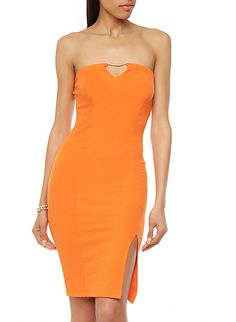 Strapless Bodycon Dress with Keyhole Front Opening