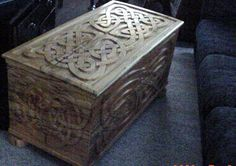 Celtic wood carving into wood chest. Celtic Decor, Viking Decor, Medieval Bedroom, Scottish Decor, Viking Baby, Dream Furniture, Trunks And Chests, Celtic Designs, Room Themes