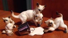 Vintage Figurine Miniature Cat Kitten  Doll House Milk Siamese Japan Bone China