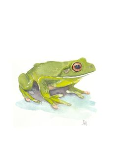 Frog Watercolor Original Art Animal by WaterInMyPaint on Etsy, via Etsy.