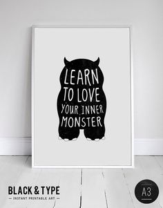 A3 INSTANT DOWNLOAD monster print birthday by blackandtypeshop