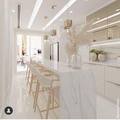 Luxury Kitchen Design, Kitchen Room Design, Home Room Design, Home Decor Kitchen, Interior Design Kitchen, House Design, Beautiful Kitchen Designs, Beautiful Kitchens, Luxe Decor