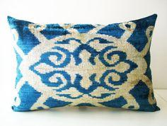 Sukan / SALE - Soft Hand Woven - Silk Velvet Ikat Pillow Cover - 15x22 inch…