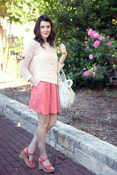 Flowy skirt + comfy sweater + pink wedges + classic bag. I love this outfit