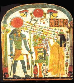 Symbols of upper and lower Egypt with the eyes of Ra. Horus in his domain (Firmament)http://www.hethert.org/Stele3.jpg [Firmament