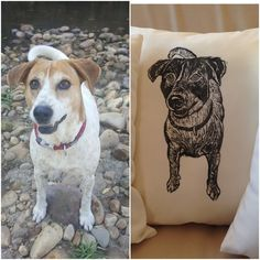 Custom hand printed dog portrait cushion cover by KerryCherry on Etsy