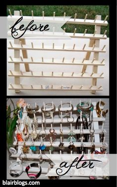 Use a Spool Thread Rack To Store Jewelry | It's only a few bucks at the local craft store, all of your jewelry is easily organized and accessible, and you can either prop it up on a dresser or hang it up on the wall! Genuis!