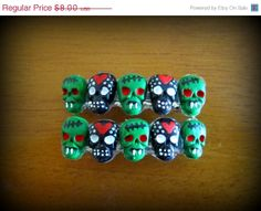 XMAS SALE hearts and zombies skull haunted by HauntedHairCandy, $5.60