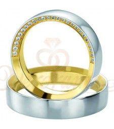 Βέρες γάμου δίχρωμες με διαμάντι Breuning 5221-5222