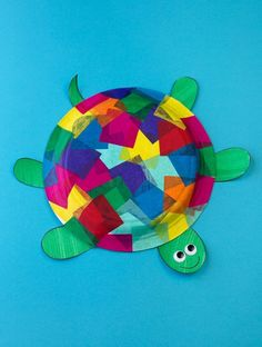 Tissue Paper and Paper Plate Turtle Craft Tissue Paper Crafts Seidenpapier und Pappteller Turtle Cra Paper Plate Art, Paper Plate Crafts, Paper Crafts For Kids, Easy Crafts For Kids, Toddler Crafts, Preschool Crafts, Art For Kids, Arts And Crafts, Kid Art