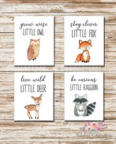 Woodland Animals Series / Stay Clever Live Wild Grow Wise Be Curious / 8x10 Nursery Art / Set of 4 P