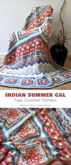 Crochet Afghans 349591989827735761 - Indian Summer Cal Free Crochet Pattern This beautiful blanket CAL has a wonderful gamma of colors and is representative of the times and stages of life. Crochet Afghans, Afghan Crochet Patterns, Blanket Crochet, Crochet Throws, Crochet Indian Blanket Free Pattern, Crochet Stitches, Dishcloth Crochet, Baby Afghans, Crochet Gratis