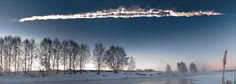 The Chelyabinsk meteor streaking through the sky. It injured hundreds, damaging buildings, and bringing attention to the Earth as a potential target for rocky space bodies.