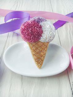 Купить Брошь Мороженое - комбинированный, брошь, брошь ручной работы, брошь из бисера, мороженое