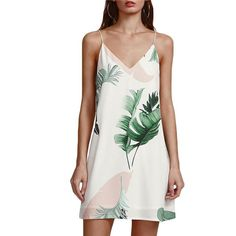 White Cami Palm Leaf Print V Neck Sexy Sleeveless Summer Dress